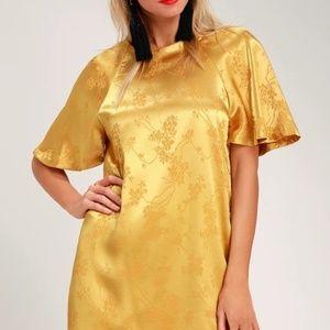 Blossom Golden Yellow Floral Jacquard Shift Dress